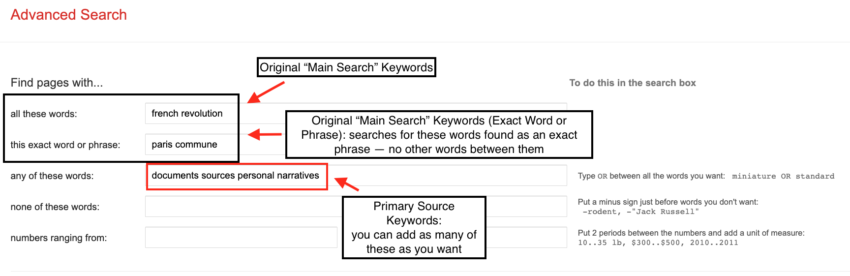 Google Advanced Search with Main Search and primary source keywords