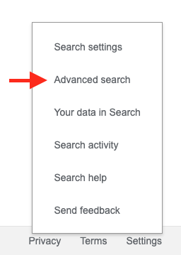 Advanced Search link in Google Settings