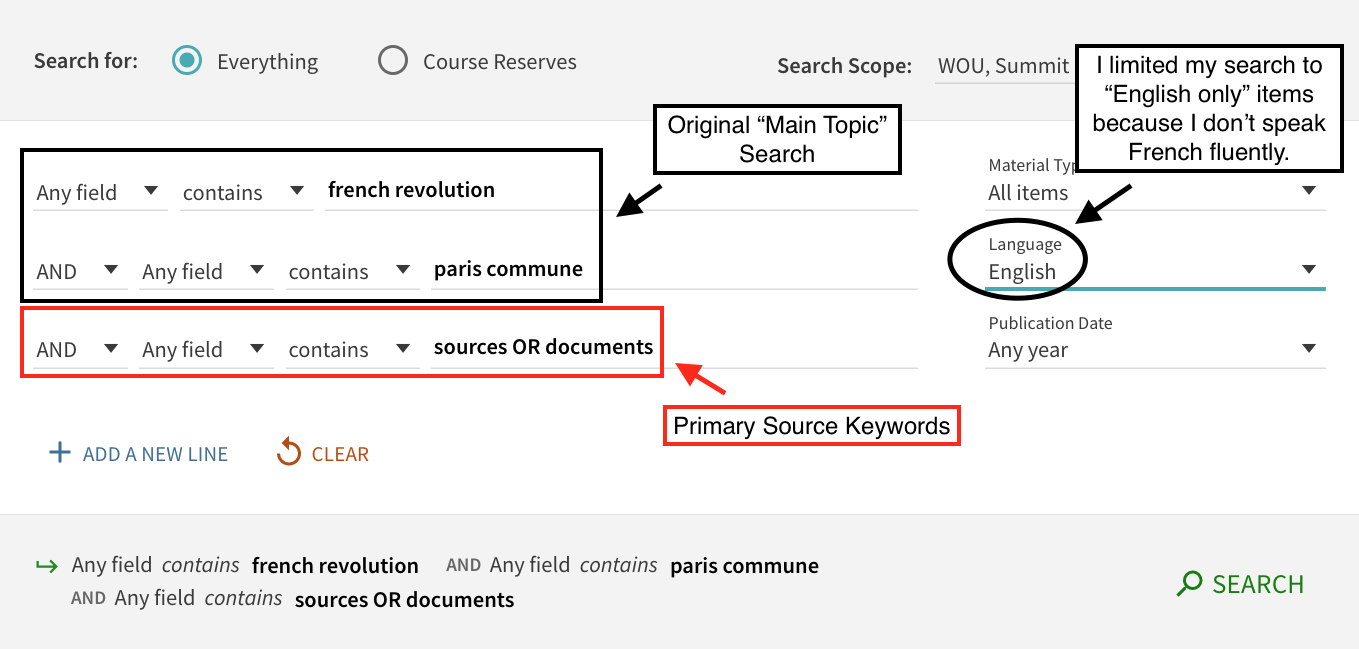 Main topic search in Primo with keywords added