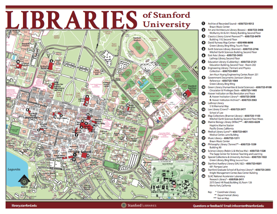 Map of locations of Stanford Libraries