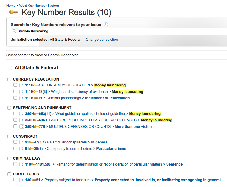 "Screenshot showing results for searching ""money laundering"" across Key Number topics"