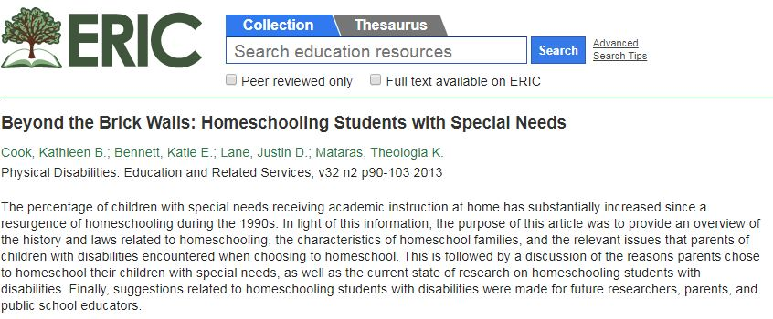 Screenshot of ERIC database with information about Beyond the Brick Walls: Homeschooling Students with Special Needs article displayed