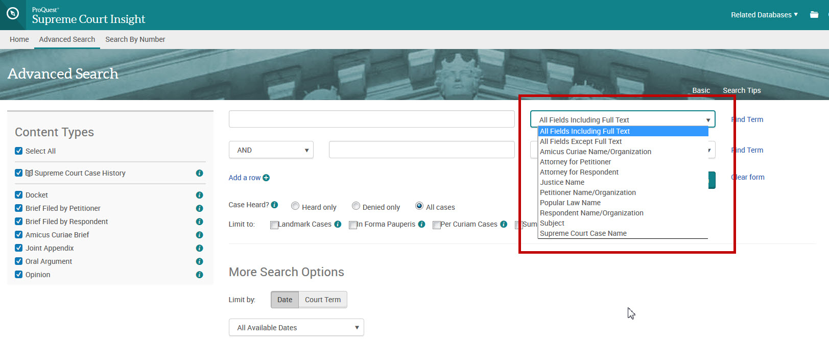 Advanced search form showing fielded search options