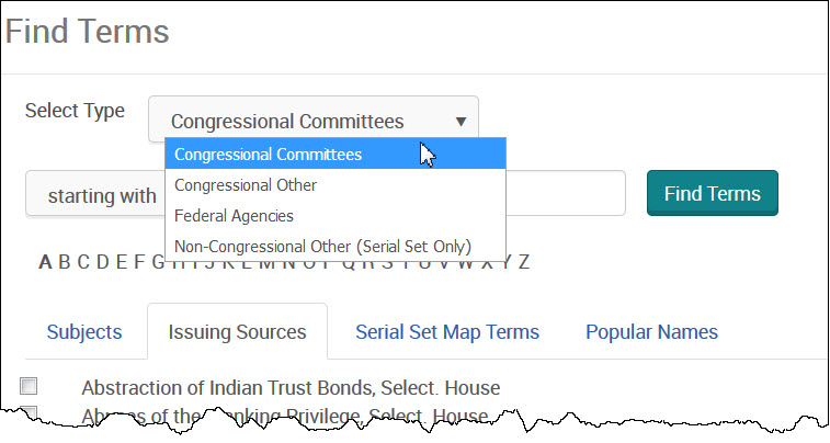 Find Terms - Congressional Committees pulldown