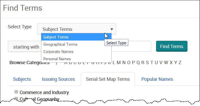 Find Terms - Serial Set Maps tab pulldown