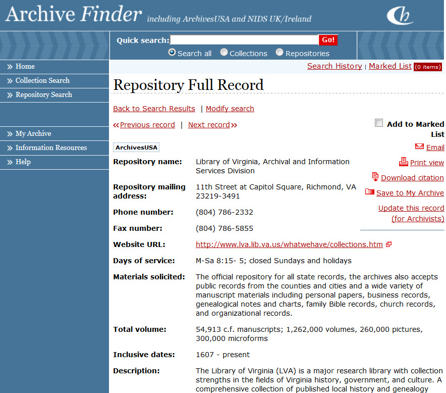 Top of repository Record