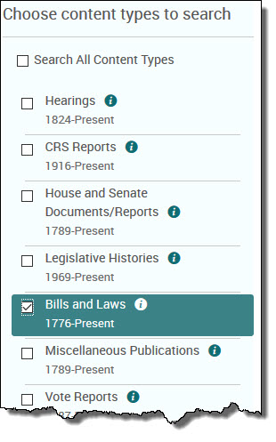 Bills on the advanced search form