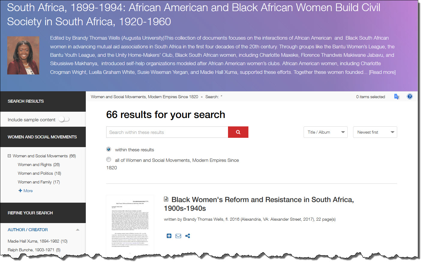 Document Cluster page for South Africa, 1899-1994: African American and Black African Women Build Civil Society in South Africa, 1920-1960