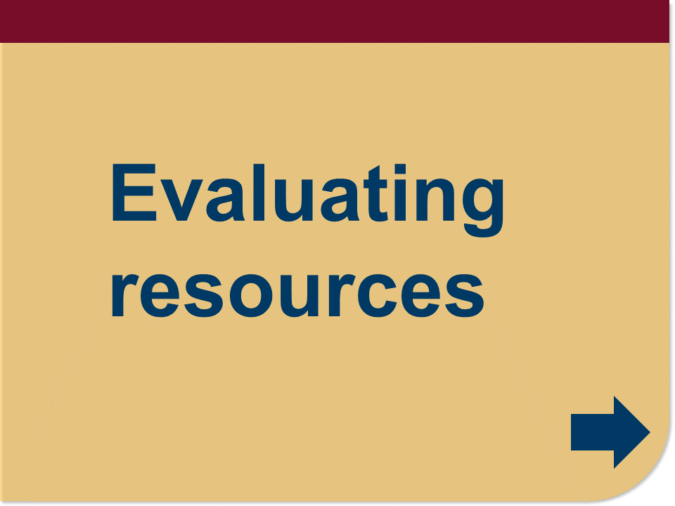 evaluating resources button