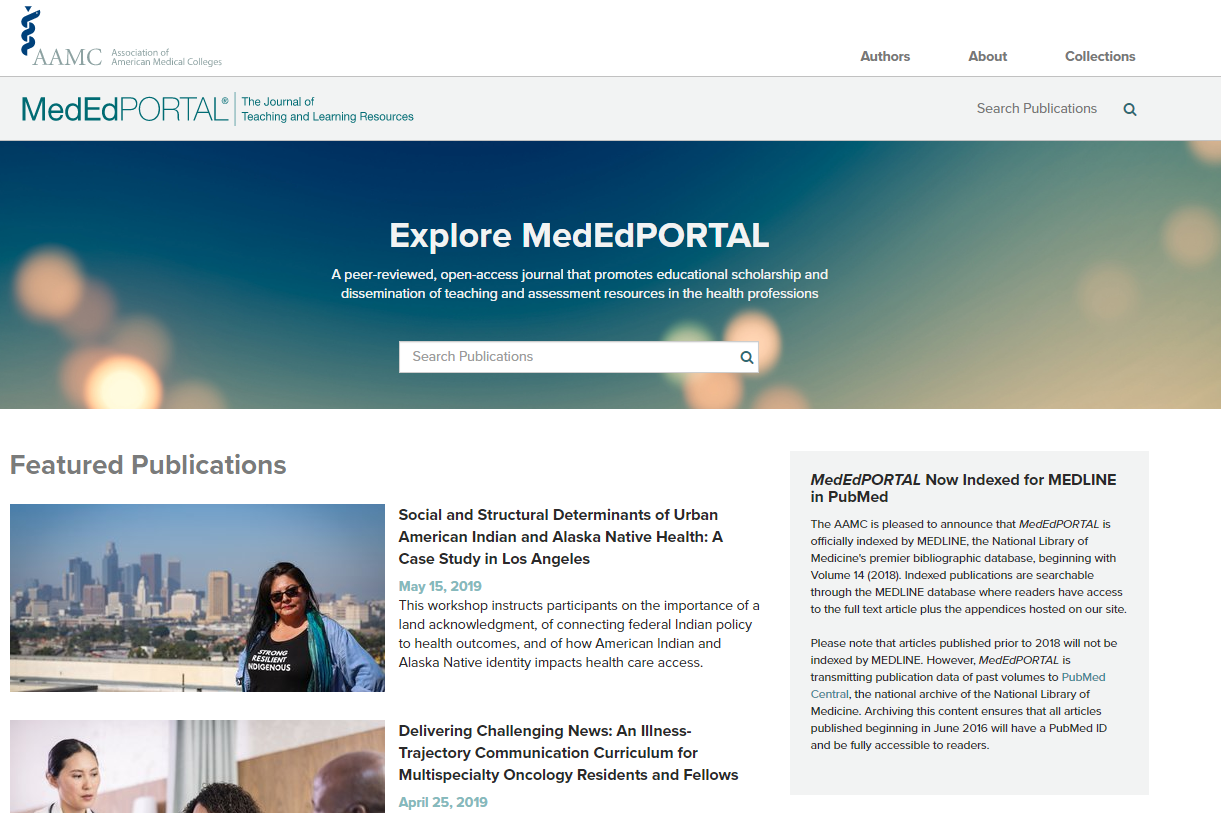Screenshot of the MedEdPortal home page