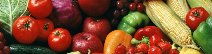 Close-up of fruits and vegetables.