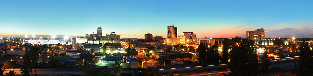 Downtown Fresno at dusk, from freeway.