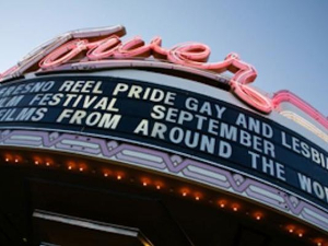 Close-up of Tower Theatre marquee.  Fresno, California.