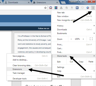 Screenshot with arrows showing where to find browser extensions
