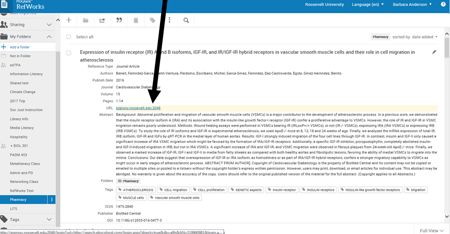 Image showing how to access full article from imported reference information