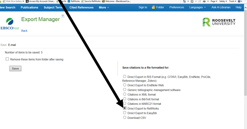 Image of Export to RefWorks option in EBSCO