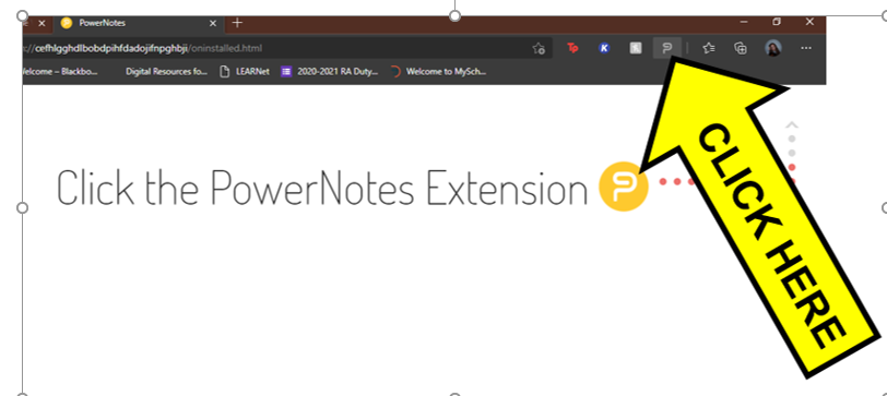 Arrow pointing to extension icon