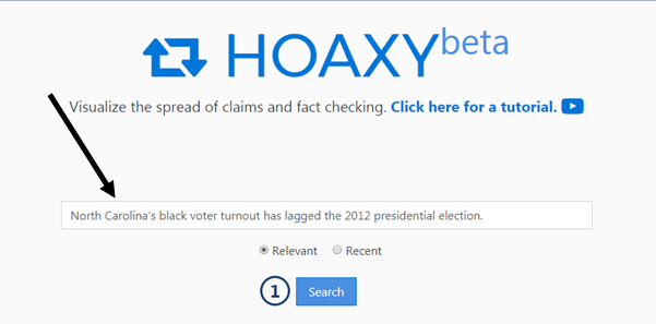 screenshot with arrows showng how to search HOAXY
