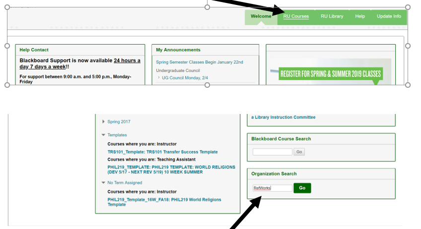 Image of Blackboard page showing how to access RefWorks course