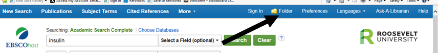 Image of where to find your folders when logged in to EBSCO