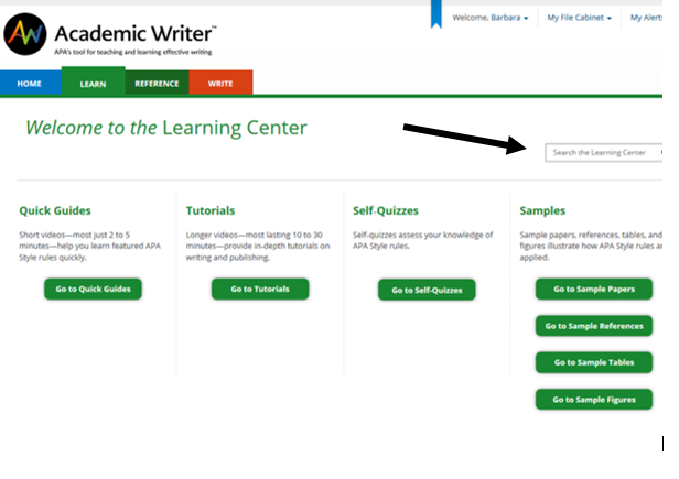 Picture of learning center resources and search box