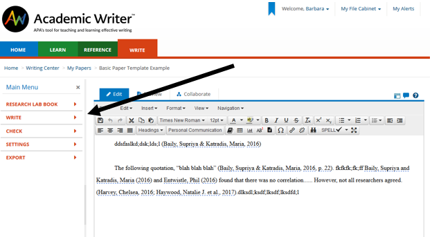 Screen shot of menu options for writing a paper in Academic Writer