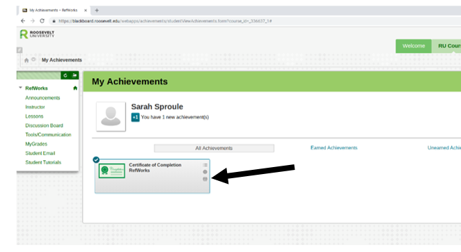 Image from Blackboard showing how to access the certificate of completion