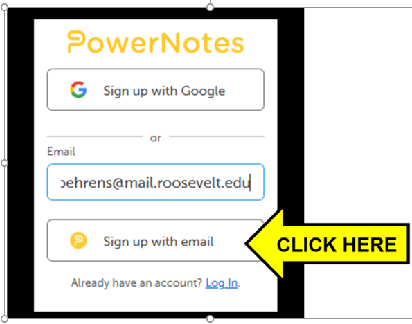 Arrow pointing to Sign up with email button