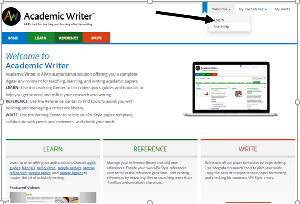 Picture of Academic Writer Home page and login button