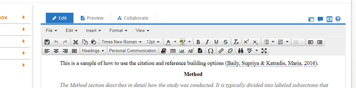 Screen shot of Academic Writer's word processing toolbar