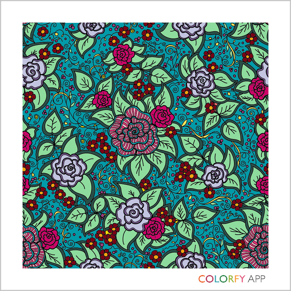 A colored illustration with a floral pattern in shades of blue, green red, pink and yellow