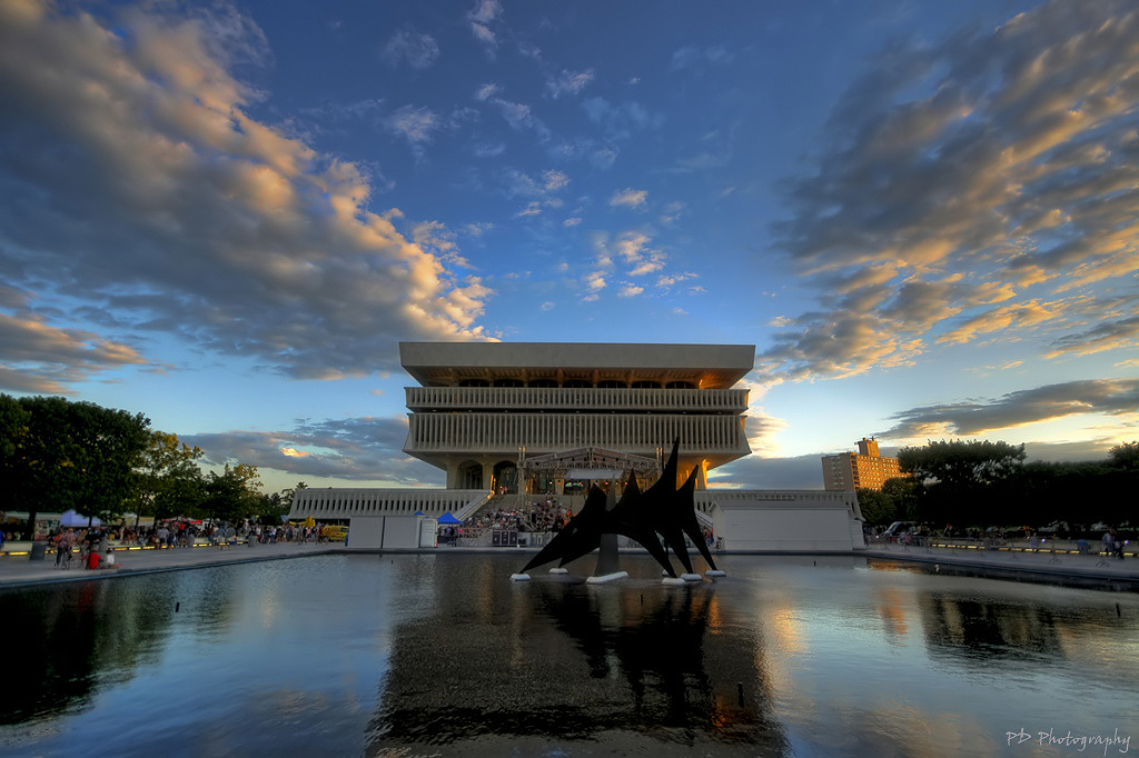 New York State Museum, Albany NY facade over a pool at sunset