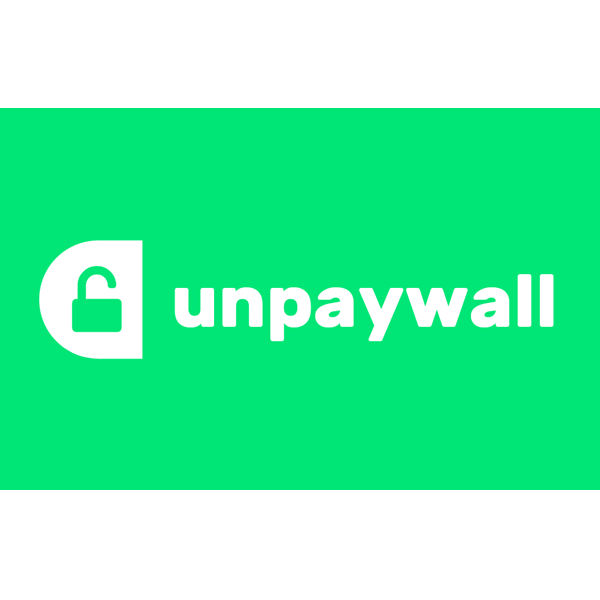 Unpaywall logo; mint green background with white text reading unpaywall with a white shape and green unlocked padlock