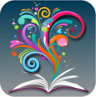 Browzine app logo and open book with colorful swirls emerging from the pages
