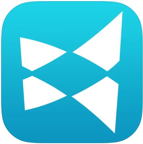 App logo; medium blue background with stylized x logo in white