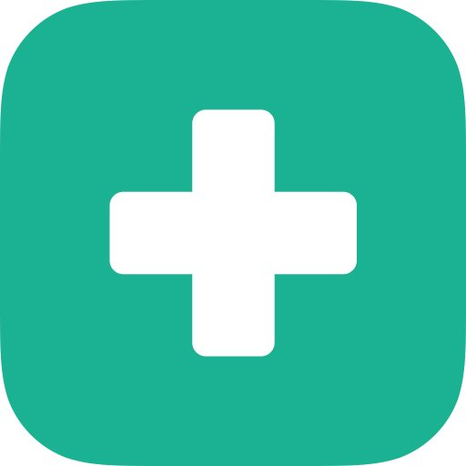 MDCalc app icon; a light teal square with rounded corners with a white plus sign in the middle