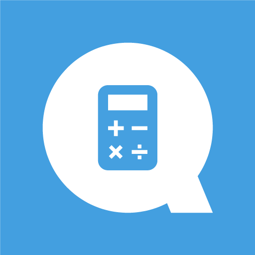 App icon: a medium blue square with a white capital letter Q with a calculator icon as the center