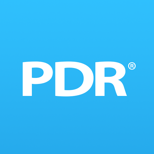 mobilePDR app logo light blue background and white text reading PDR