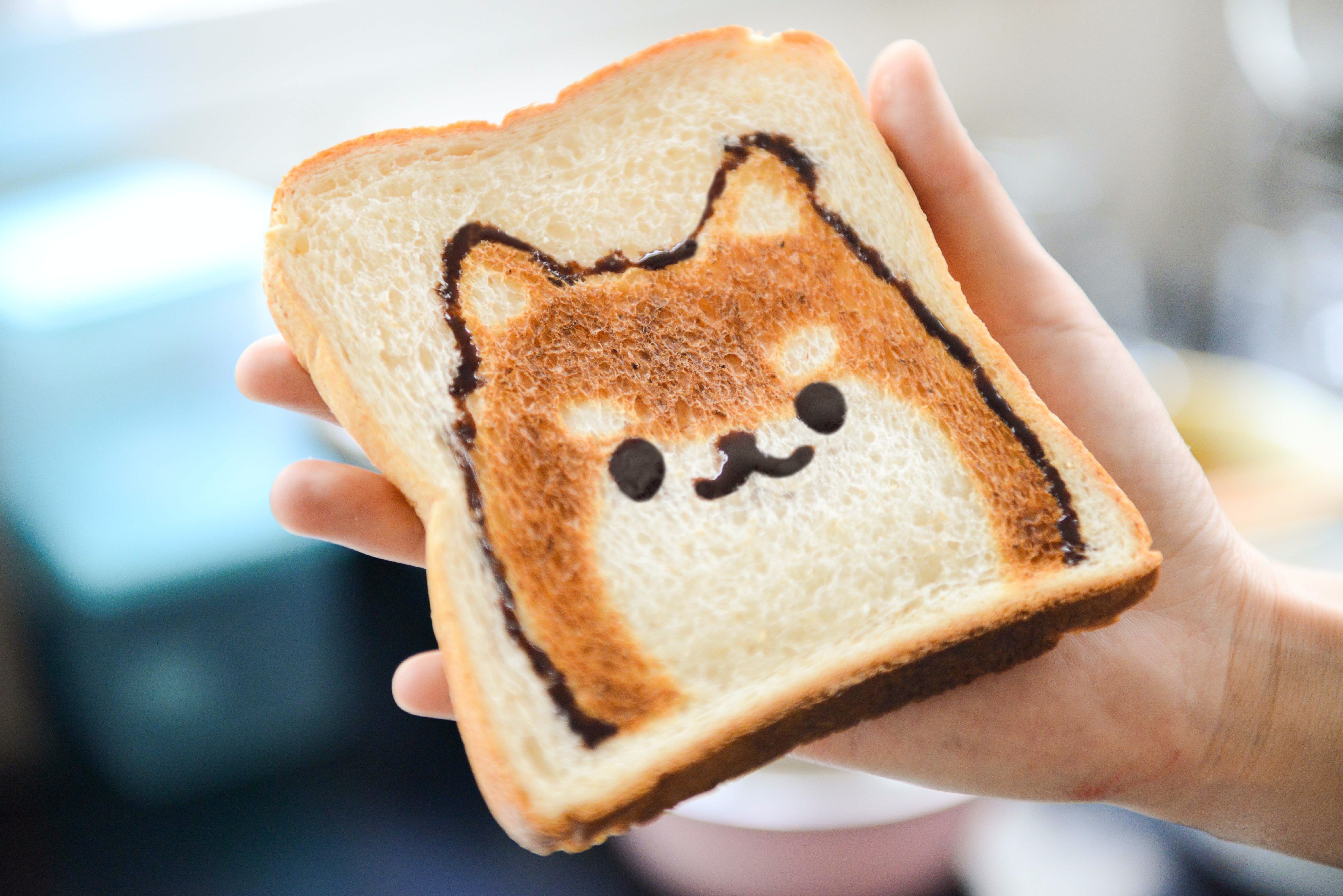 Hand holds a slice of bread toasted and decorated to resemble a dog's face