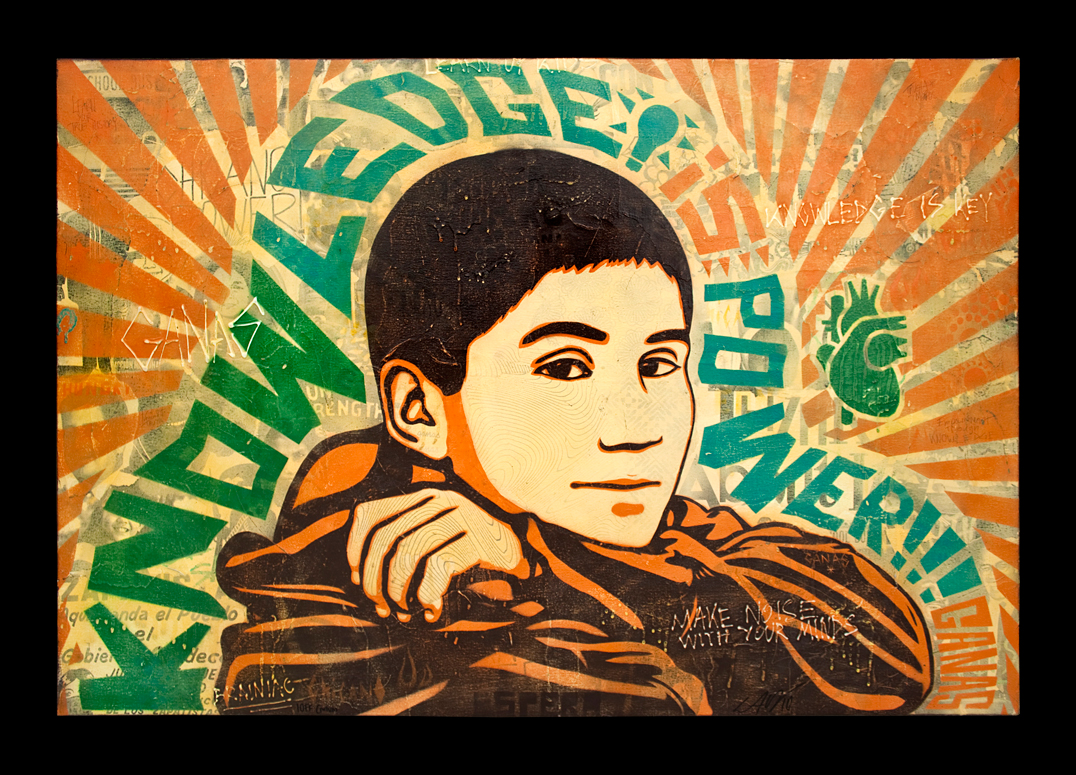 Print of a boy's face with the words Knowledge is Power by Ernesto Yerena Montejano