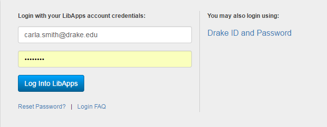 Login with LibApps credentials or Drake ID and Password