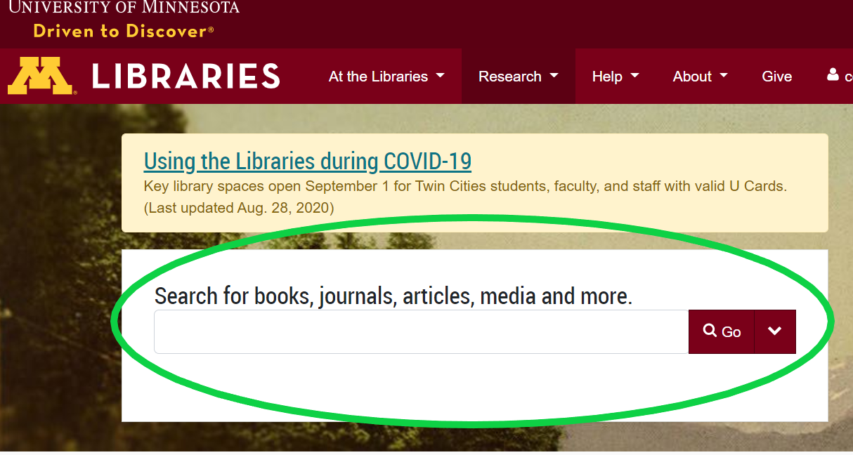 image of the libraries homepage with the search bar in a green circle