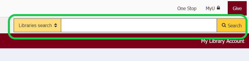 image of search bar from the libraries homepage with a green box around it