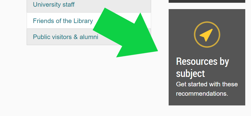 image of subject guides link on libraries homepage with a green arrow pointed at it