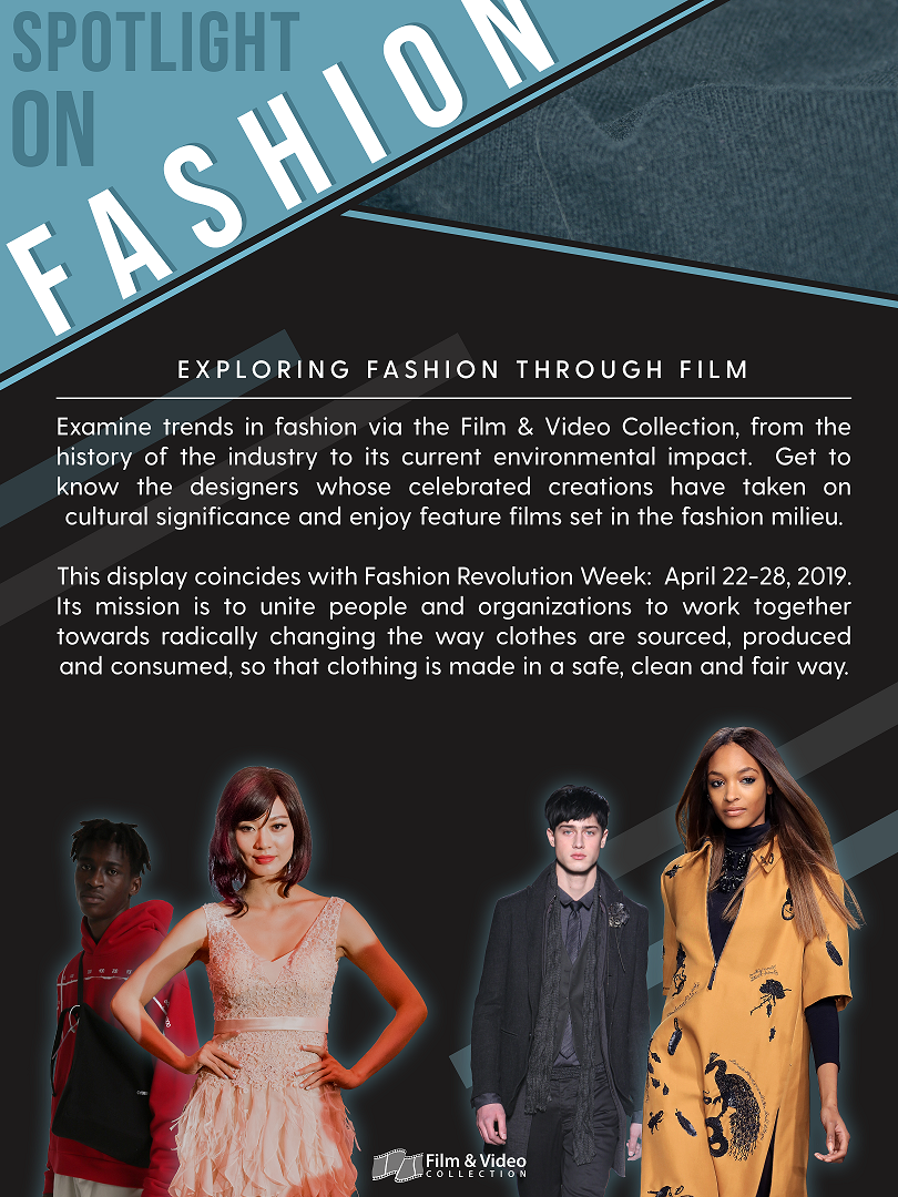 Poster promoting spotlight on fashion display with photo of four models