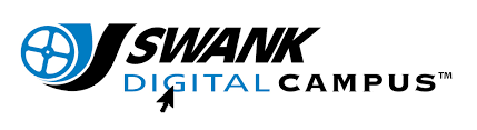 Swank Digital Campus Logo with blue and black graphic of a filmstrip