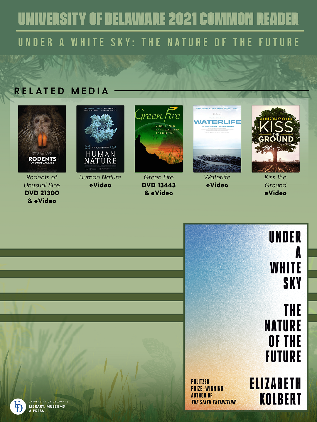 """Poster image with text: """"University of Delaware 2021 Common Reader: Under a White Sky: The Nature of the Future"""" above 5 DVD cover images and book cover art, with a green background and a grassland-shaped border at the bottom"""