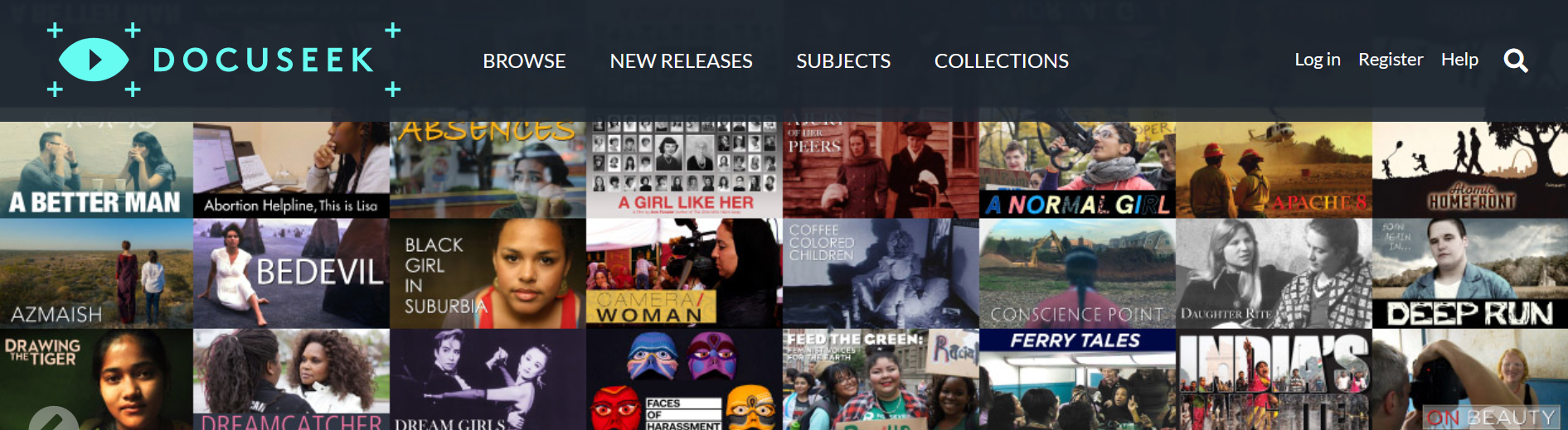 Portion of the Docuseek collection page featuring cover images of selected included films