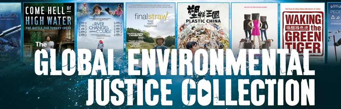 Portion of the Global Environmental Justice Collection's search page, featuring cover images of selected included films