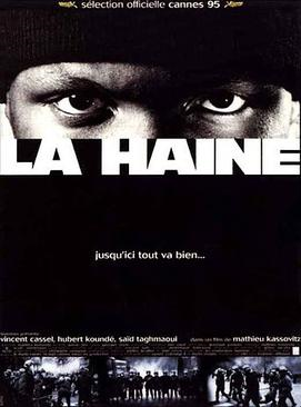 """Poster image with the tagline in French, """"Jusqu'ici tout va bien...""""  (English translation:  """"So far, so good…"""")"""